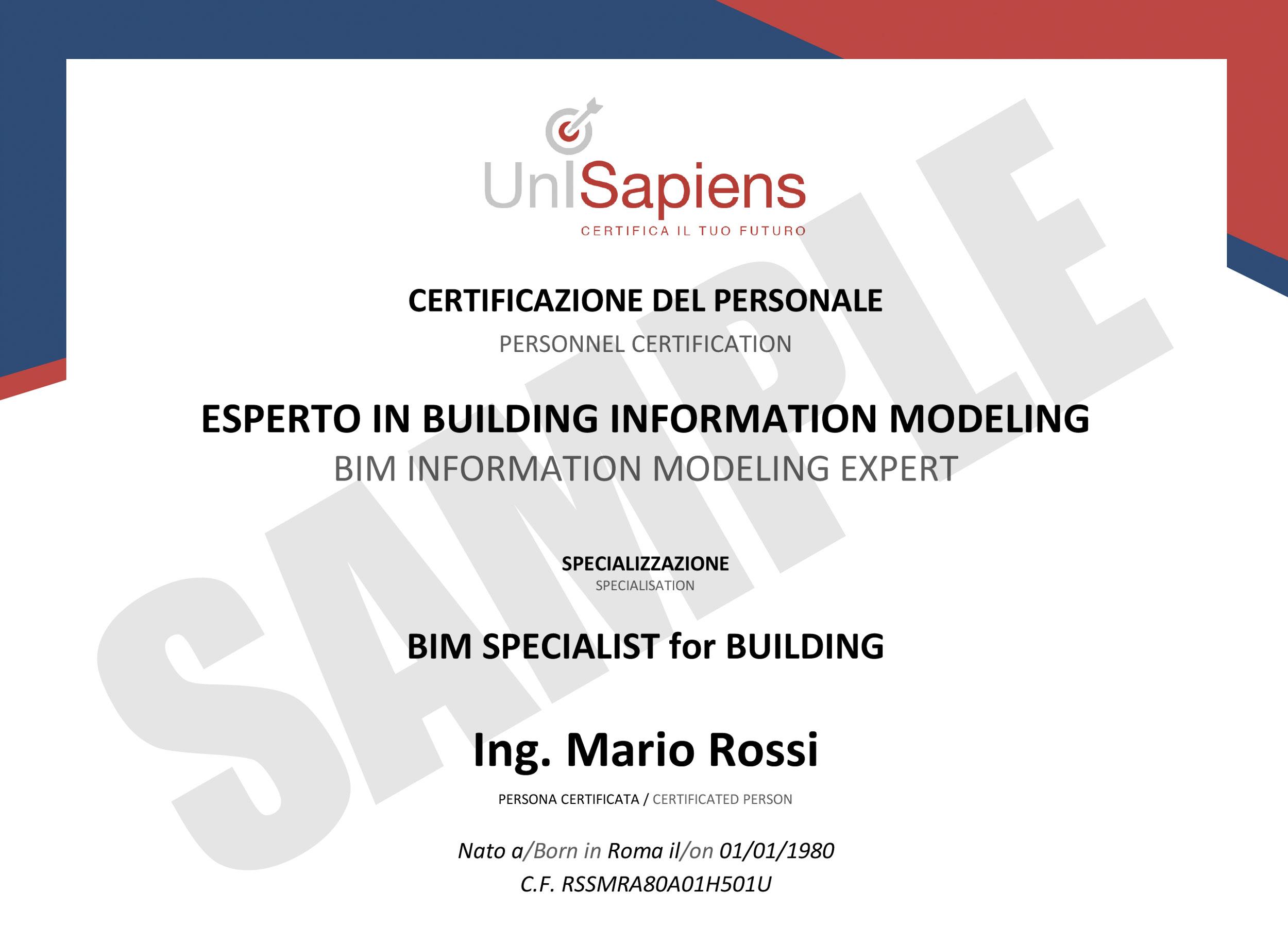 CERTIFICATO BIM SPECIALIST for BUILDING_corto
