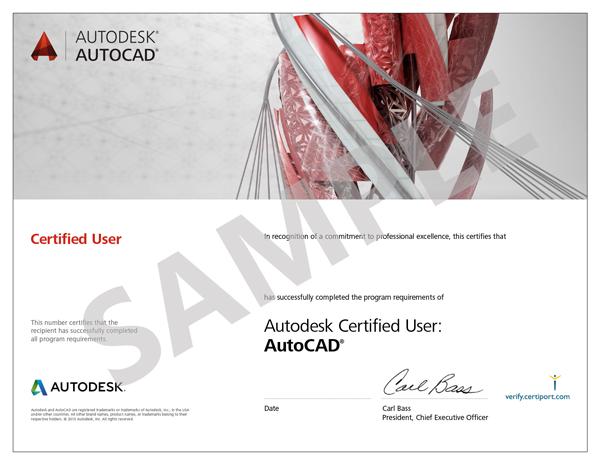 Autodesk_AutoCAD_Certified_User_Certificate_Sample